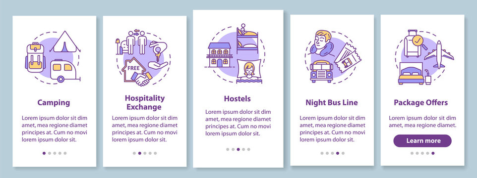 Sleeping onboarding mobile app page screen with concepts. Camping, hospitality exchange. Budget traveling walkthrough five steps graphic instructions. UI vector template with RGB color illustrations