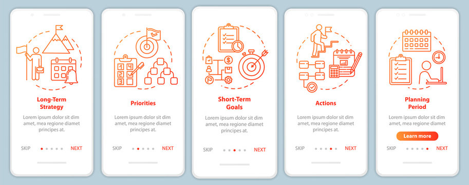 Time strategies onboarding mobile app page screen with concepts. Planning for company. Marketing walkthrough 5 steps graphic instructions. UI vector template with RGB color illustrations