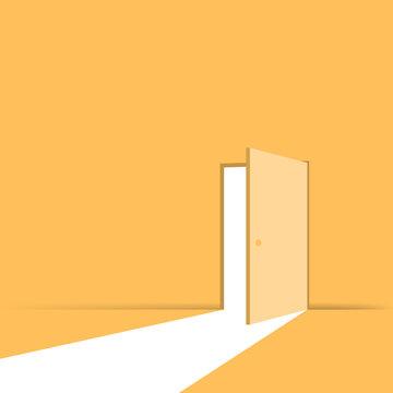 Open door. Symbol of new career. Vector