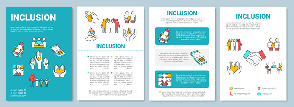 Inclusion brochure template. Disabled aid. Socialization, education. Flyer, booklet, leaflet print, cover design with linear icons. Vector layouts for magazines, annual reports, advertising posters