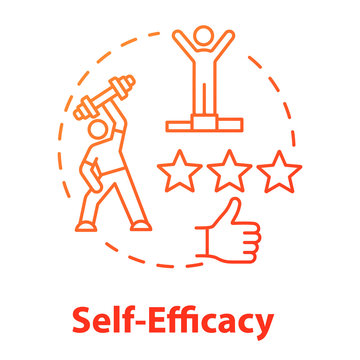 Self efficacy concept icon. Personal potential realization. Professional training. Movement to goal idea thin line illustration. Vector isolated outline RGB color drawing