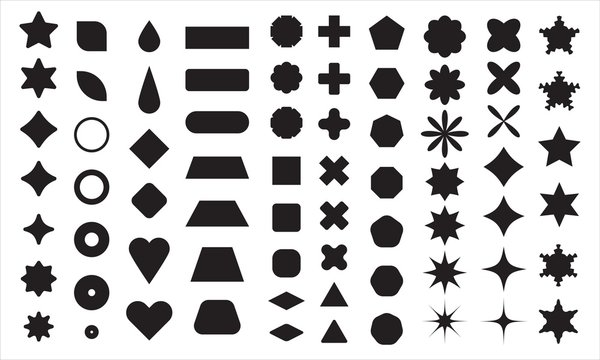 Vector basic shape collection for your design. Polygonal elements with sharp and rounded edges
