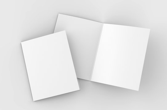 Blank bi fold card template, 3d render illustration.