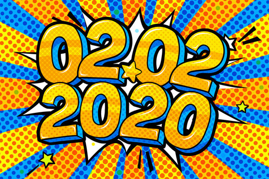 02.02.2020 2 February 2020 banner. Numbers in pop art style