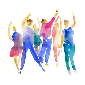 Vector - hand drawn watercolor illustration. Dancing people. People shaped watercolor stains