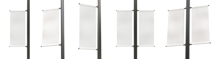 Set of Different Angles of Empty Lamp Post Banners Isolated on White Background. Standard Size of Canvas. Realistic 3D Render. Fotomurales