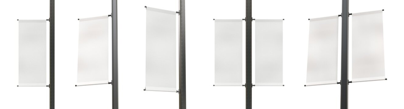 Set of Different Angles of Empty Lamp Post Banners Isolated on White Background. Standard Size of Canvas. Realistic 3D Render.