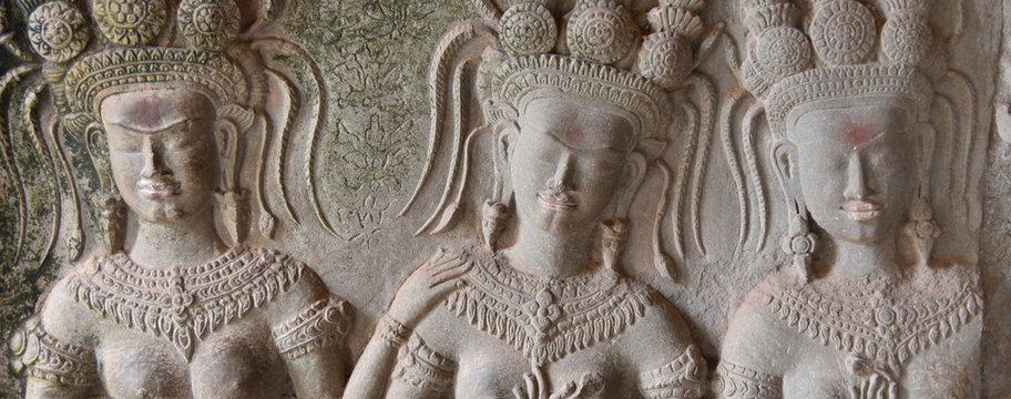 Mur à Angkor vat