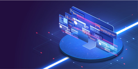 Application of PC with business graph and analytics data on isometric computer . Analysis trends and software development coding process concept. Programming, testing cross platform code. Blue