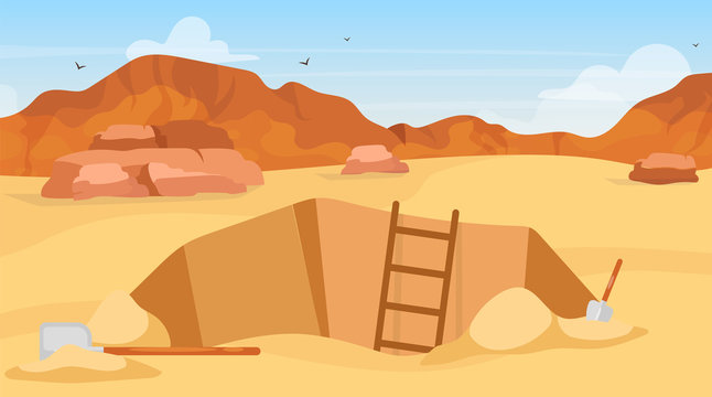 Excavation flat vector illustration. Archaeological site, search for artifacts. Digging with shovels. Egyptian desert exploration. Miner hole in Africa. Expedition cartoon background