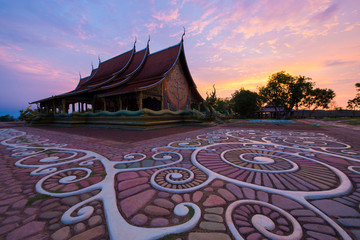Wall Mural - Wat Sirindhorn in Ubon Ratchathani during sunrise in Thailand.