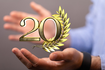 20 Digital number Years Anniversary 3d background.