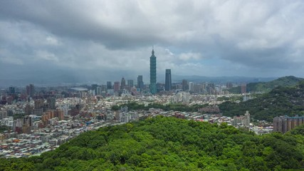 Wall Mural - Hyperlapse or Dronelapse Aerial view of Business district in city of Taipei, Taiwan