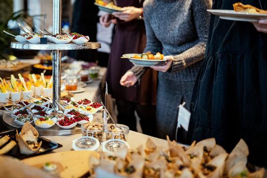 Various foods in brunch buffet in restaurant .