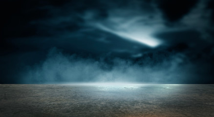Fotomurales - Futuristic empty night scene. Empty street scene background with abstract spotlights light. Night view of street light reflected on water. Rays through the fog. Smoke, fog, wet asphalt with reflection