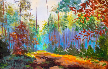 Impressionism modern oil painting autumn forest park alley sunlight landscape artwork. Sunny art