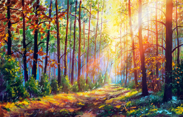 Original oil painting gorgeous forest in autumn, scenic landscape with pleasant warm sunshine fine art Wall mural