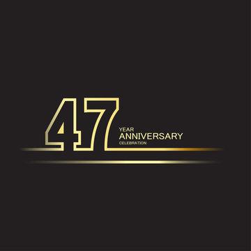 47 Year Anniversary Vector Template Design Illustration