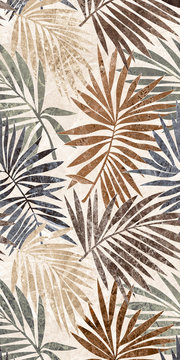 tropical seamless pattern with green leaves background. marble tropical leaves ceramic tile.