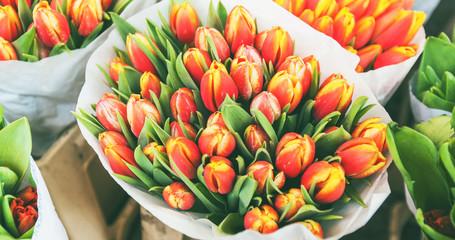 Spoed Foto op Canvas Tulp tulips for sale at street flowers market
