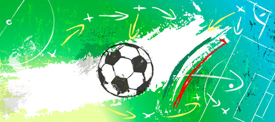 abstact background with soccer/football, with paint strokes and splashes, grungy, copy space