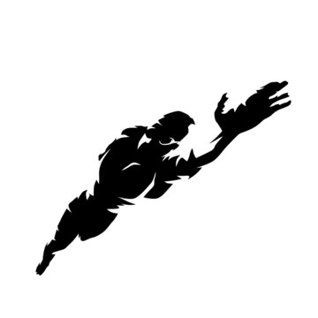 Crawl swimming, isolated vector swimmer silhouette, ink drawing