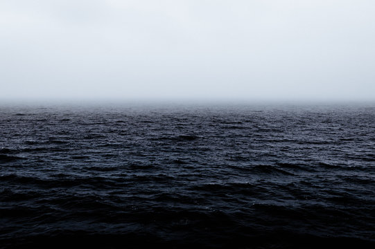 Dramatic Moody and Choppy Rough Seas with Rainstorm Approaching