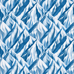 Snow mountains landscape, seamless pattern hand-drawn with paint