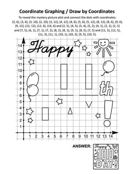"100th day of school learning celebration coordinate graphing, or draw by coordinates, and coloring page math worksheet with ""Happy 100th day!"" greeting mystery picture. Answer included."