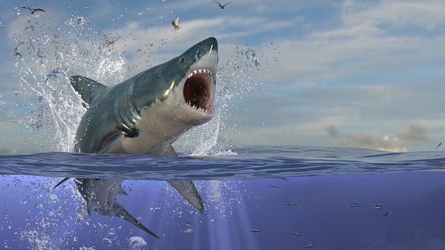 Aggressive great white shark is about to attack while half in air half in underwater 3d rendering