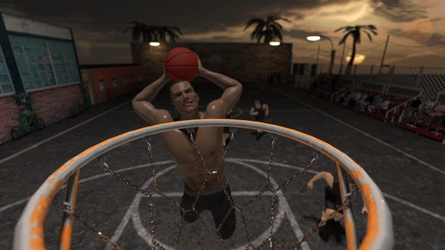 Different angle view from rim and two handed street slam dunk 3d render