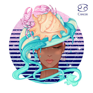 Zodiac. Vector illustration of the astrological sign of Cancer as a beautiful fashion african american girl in hat. Sign inscribed in a round shape isolated on white background. Fashion woman