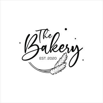 Bakery logo graphic design template with calligraphy script text for food and drink or pastry.