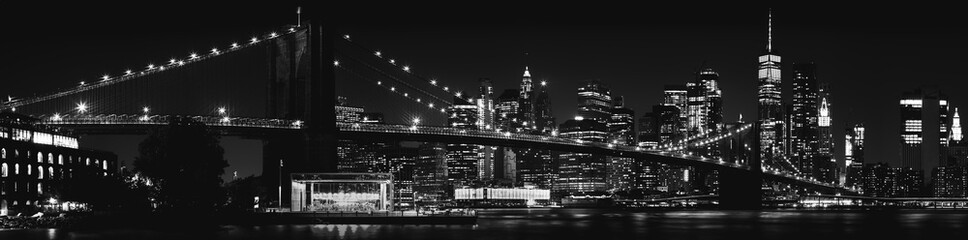 Deurstickers Brooklyn Bridge Black and White Brooklyn Bridge New York City
