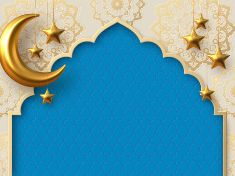 Ramadan Kareem vector card with 3d golden metal crescent and stars. Arabic style arch with traditional pattern. Copy space.
