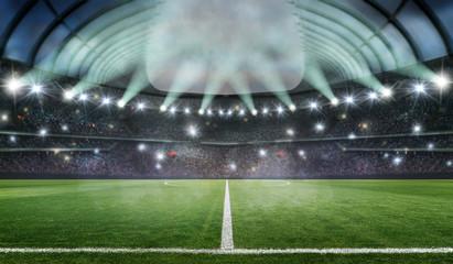 soccer stadium 3d rendering at night