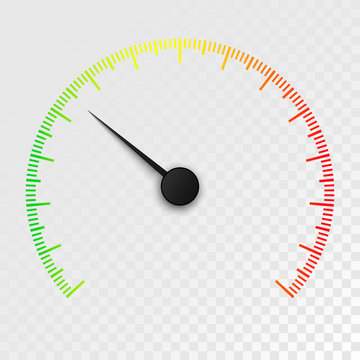 Colorful Car speedometer isolated on transparent background.