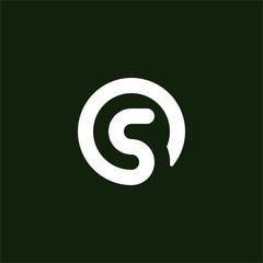 Fototapeta Initial letter S logo template with circle line art symbol in flat design monogram illustration obraz