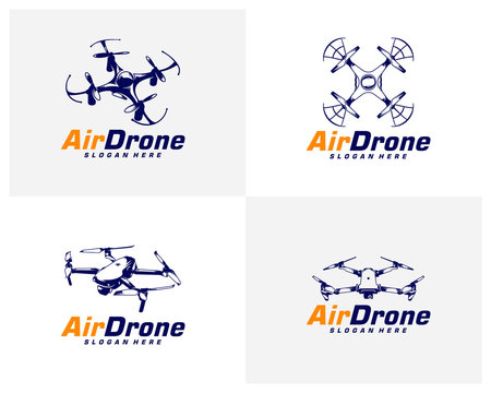 Set of Drone logo design template. Photography drone icon vector. Creative design. Illustration