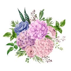 Lush pink hydrangea bouquet, top view, hand drawn