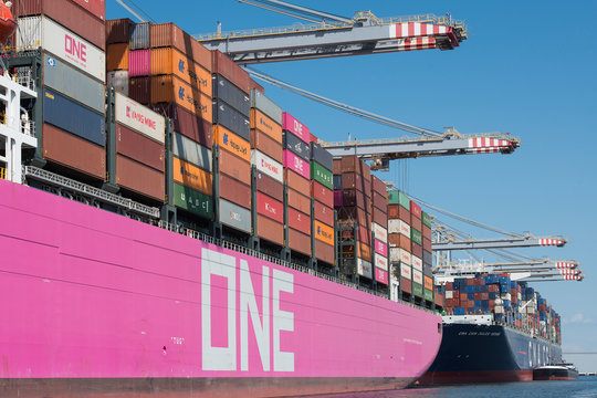 Rotterdam, The Netherlands - July 30, 3019: One Minato kobe a large japanese pink container ship lying in the harbour of Rotterdam being disembarked
