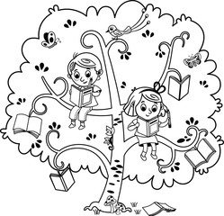 Two cute children, a boy and a  girl reading a book on the tree of books. Black and white. Vector illustration.