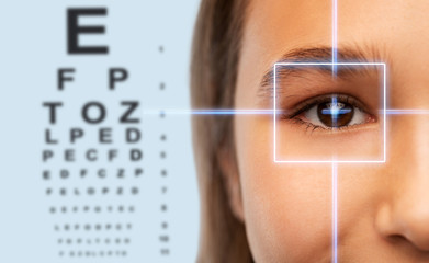 vision correction, optometry and people concept - close up of teenage girl face with laser ray over eye test chart background