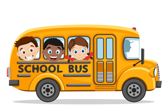 Children ride in a yellow school bus on a white. Back to school
