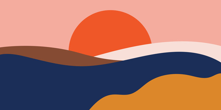 Colorful background with landscape, abstract mountains. Abstract colored backdrop with hand-drawn elements or curves. Creative vector illustration - poster design.