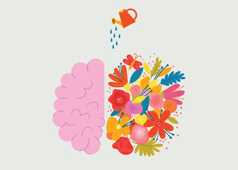 Creative design of the human brain with flowers. Concept vector illustration in the modern flat style. Modern illustration for print, postcard or t-shirt.
