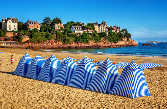 Beach tents in Dinard, Brittany, France