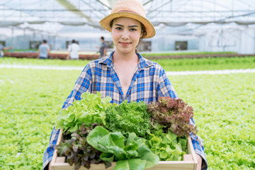 Agriculture business concept, young farmer woman holding basket of vegetables in hydroponic farm with smile.