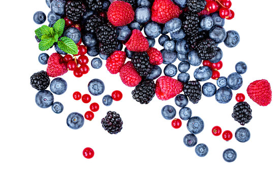 Sweet mix  berries isolated on white background, top view. Berry border frame. Flat lay.