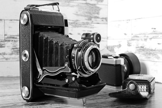 Film camera with a vintage lens